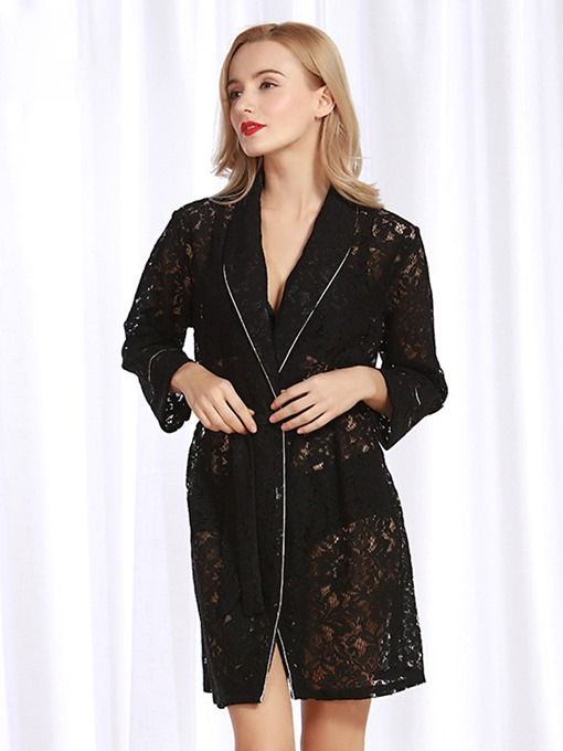 Loose Hollow Lace-Up Long Sleeve Sexy Night Robe