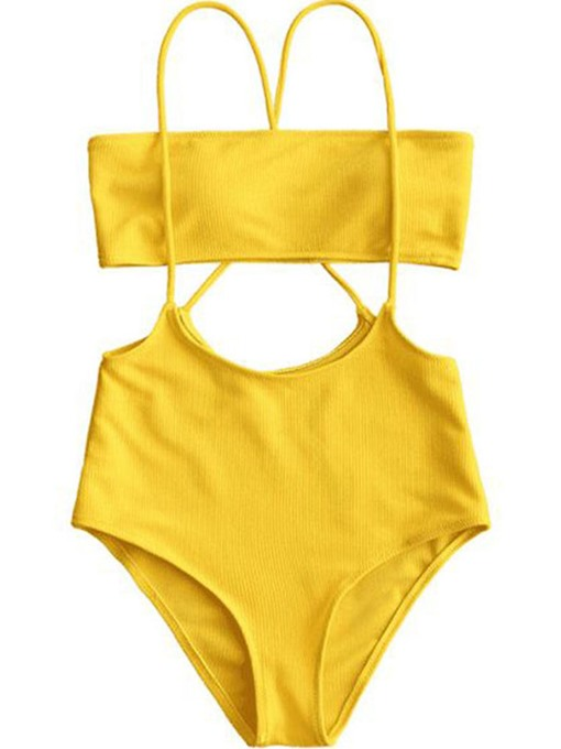 Yellow Plain High Waist 2-Pcs Bikini Bathing Suits