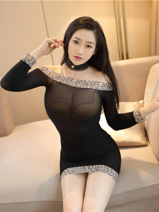 Slash Neck Leopard Tight Wrap Sexy Chemise