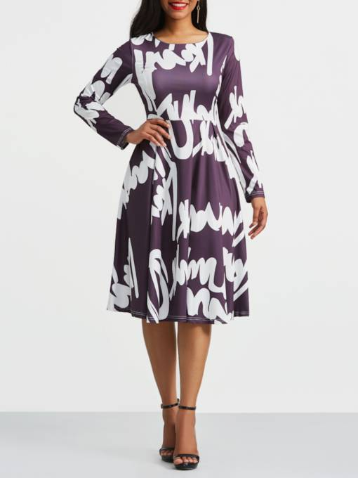 Color Block A-Line Print Day Dress