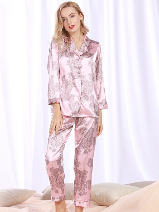 Floral Single-Breasted Charmeuse Long Sleepwear