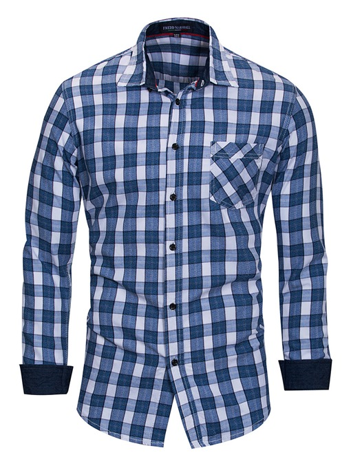 Lapel Fine Plaid Cotton Men's Shirt
