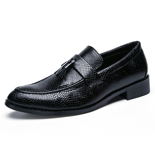 Python Pattern Tassel Slip-On Men's Shoes