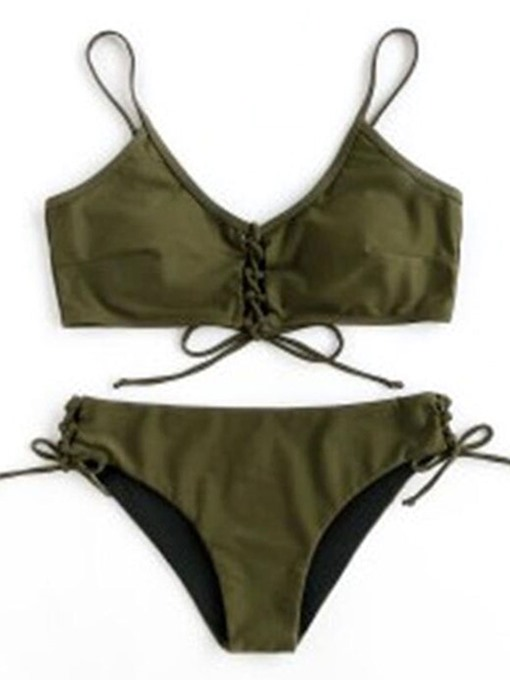 Army Green Plain Tie Front 2-Pcs Bikini Bathing Suits