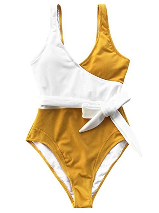 Yellow Color Block High Waist One Piece Bathing Suits