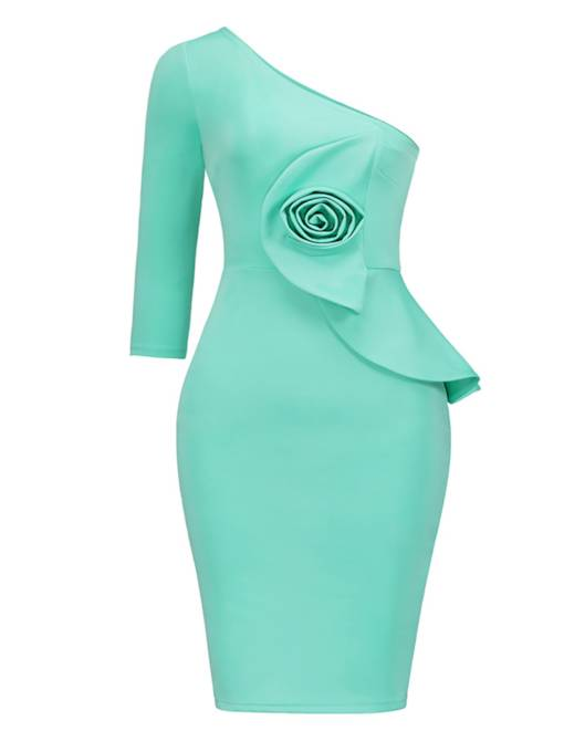 Lake Green Flower Decorated Women's Bodycon Dress