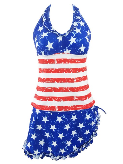Halter Lace Up American Flag Bowknot Tankini Bathing Suits