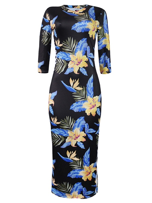 Summer Floral Print Bodycon Long Dress