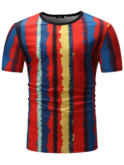 Bright Color Stripe Thin Men's T-Shirt
