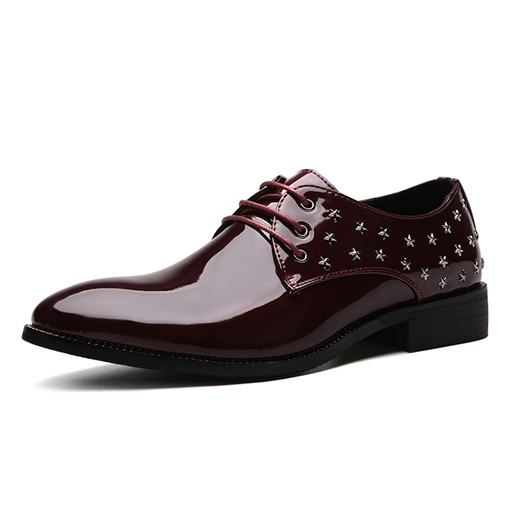 Patent Leather Rivet Tie Up High Shoes for Men