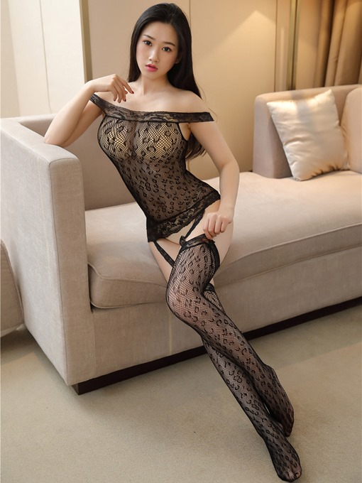 Leopard Slash Neck Mesh Sexy Pantyhose Body Stocking