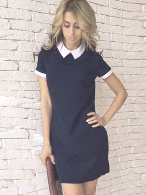Short Sleeve Patchwork Oblique Collar Summer Women's Day Dress
