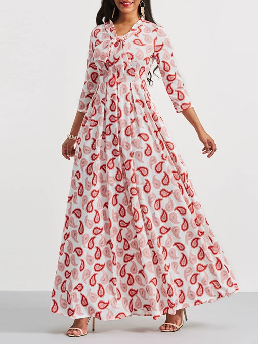 Printing Long Sleeve Tie Neck Women's Maxi Dress