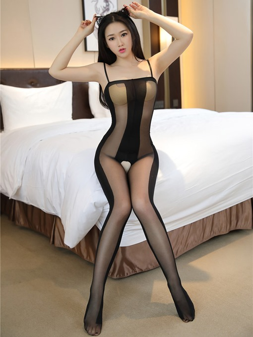 Stripe Spaghetti Strap Sexy Pantyhose Body Stocking