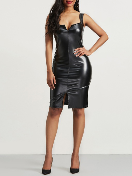 Pu Black Women's Bodycon Dress