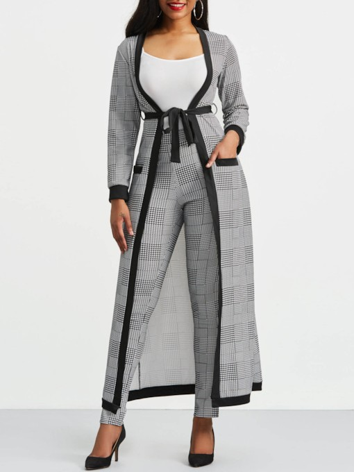 Houndstooth Long Sleeve Trench Coat and Pants Women's Three Piece Set