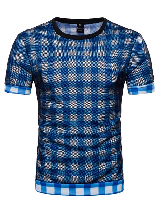 Plaid Color Block Side Zip Men's Loose T-Shirt