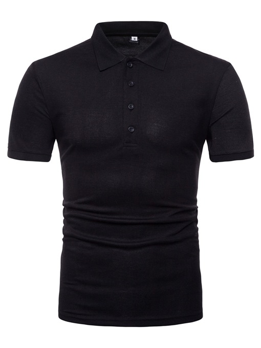 Lapel Back Print Slim Men's Polo