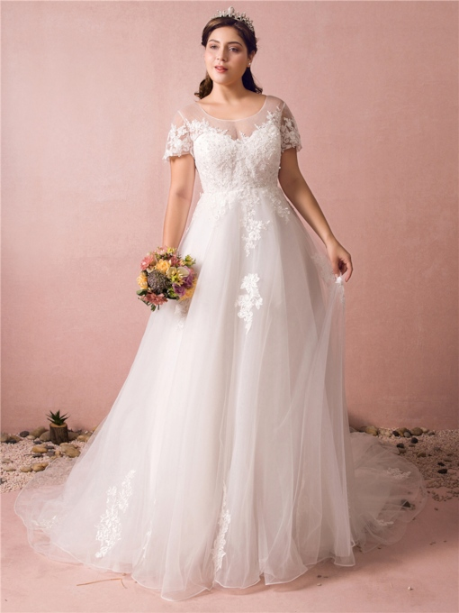 Scoop Neck Appliques Plus Size Wedding Dress