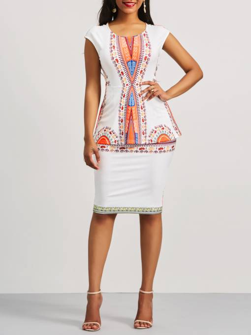 Ethnic Pattern Cap Sleeve Women's Bodycon Dress