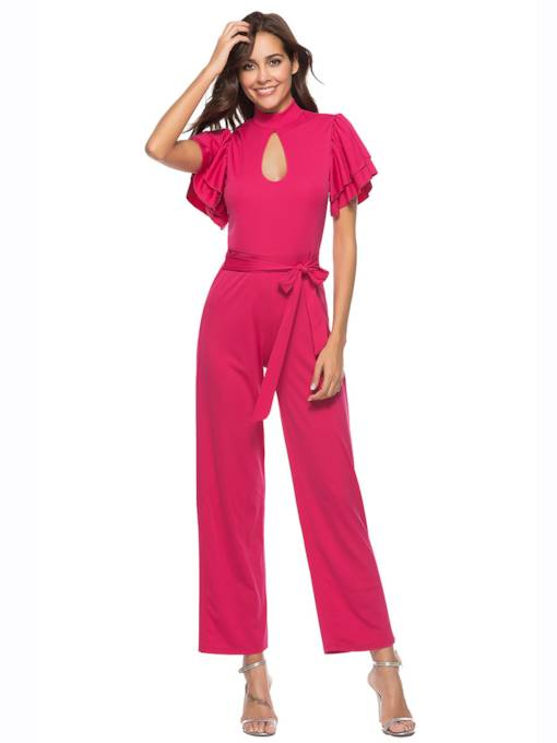 Plain Hollow Ruffle Sleeve Women's Jumpsuit