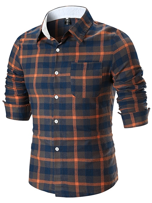 Lapel Plaid Color Block Men's Shirt
