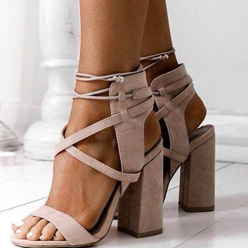 Plain Suede Thick Heel Shoes Lace Up Sandals for Women