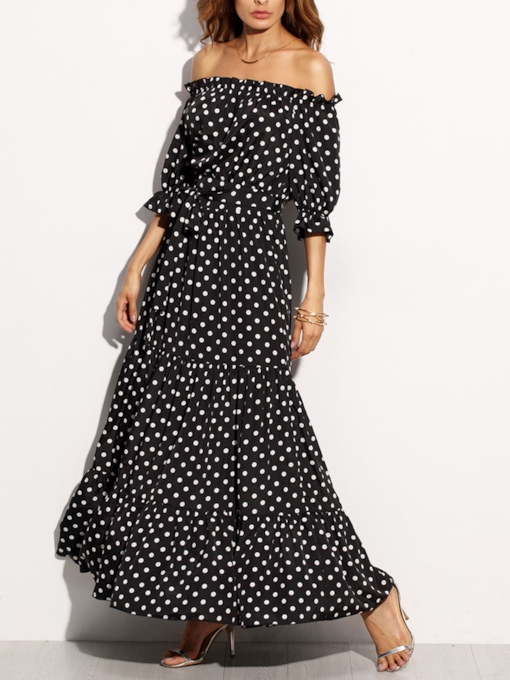 Summer Polka Dot Slash Neck Maxi Dress