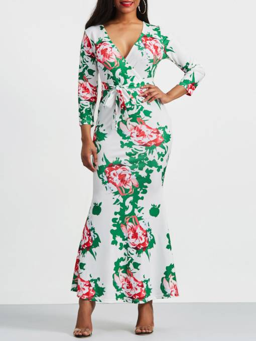 Print Floral Lace-Up Women's Maxi Dress
