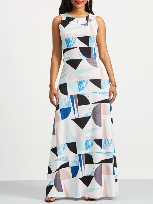 Round Neck Geometric Print Sleeveless Maxi Dress