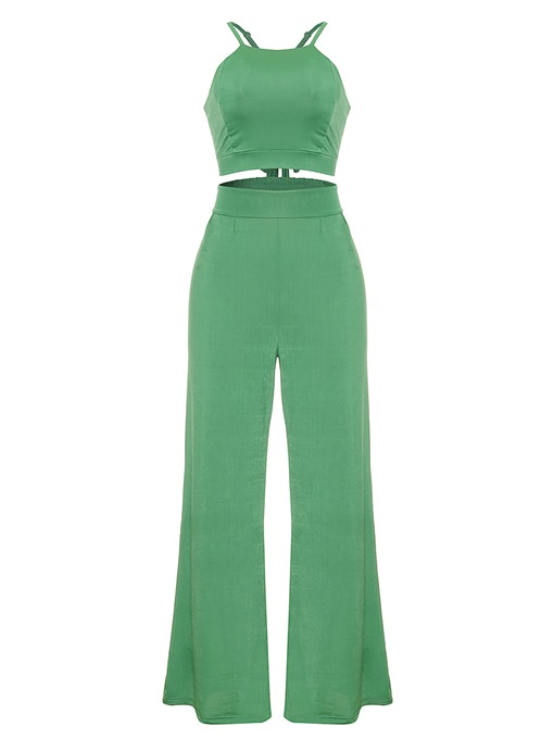 Plain Halterneck Backless Women's Two Piece Set