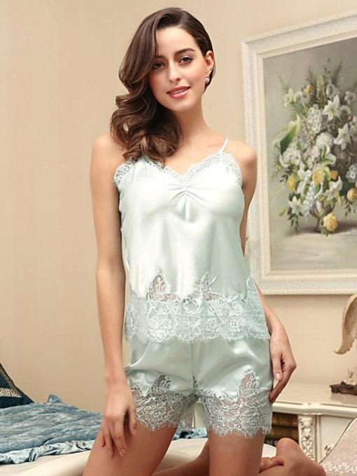Pleated Sleeveless Lace Short Sleepwear