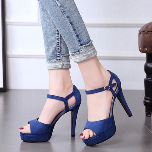 Plain Shoes Peep Toe High Heel Women's Suede Sandals
