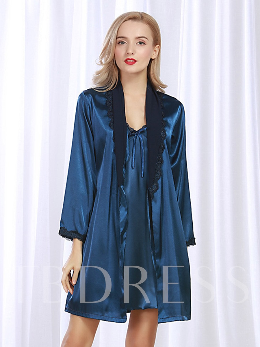 Image of V-Neck Bowknot Nightgown with Long Sleeve Robe Two-Pieces