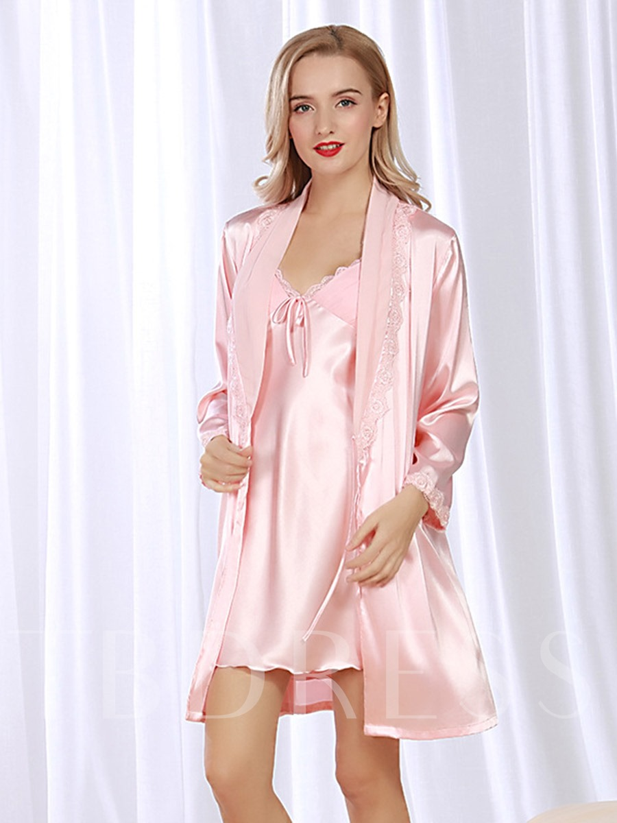 V-Neck Bowknot Nightgown with Long Sleeve Robe Two-Pieces