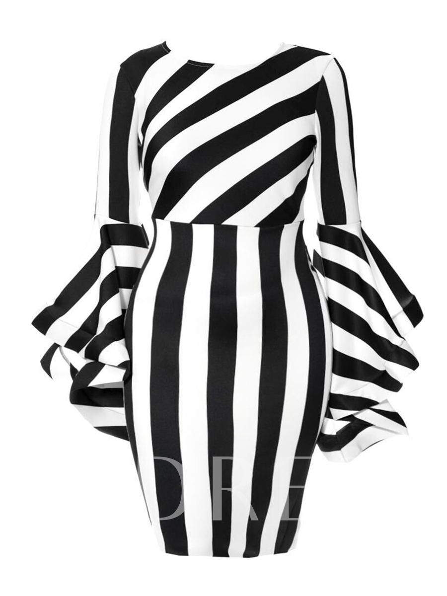 Buy Plus Size Round Neck Stripe Print Bodycon Dress, Plusee, 13265479 for $22.99 in TBDress store