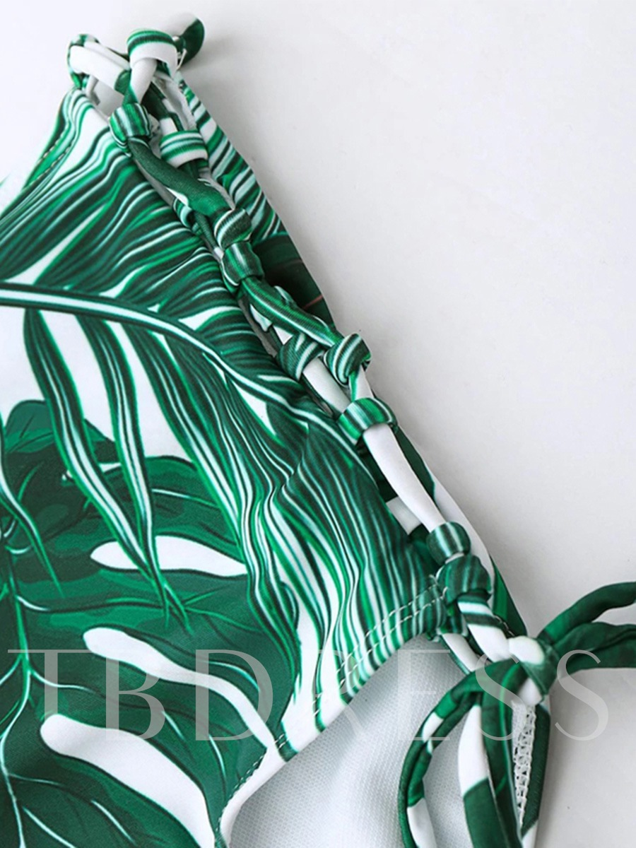 Green Leaf High Waist 2-Pcs Bikini Bathing Suits