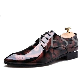 Low-Cut Upper Lace-Up Pointed Toe Men's Shoes