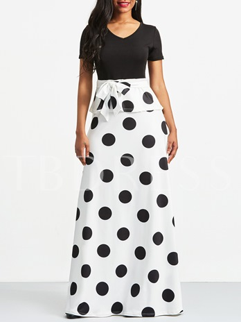 Polka Dots Short Sleeve Elegant Women's Maxi Dress