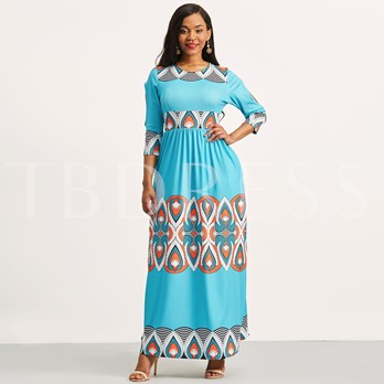 Cut Out Printing Women's Maxi Dress