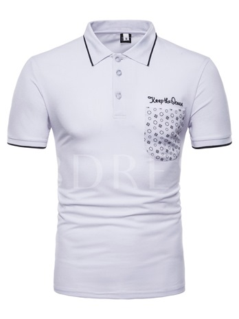 Lapel Pocket Printed Mens POLO T-Shirt