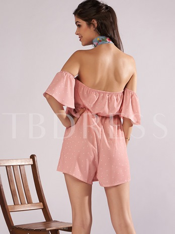 Loose Backless Ruffled Women's Rompers