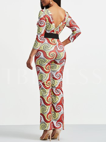 Geometry Print V Neck Women's Jumpsuit (Without Belt)