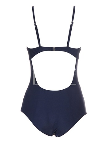 Polka Dots Halter Pleated One Piece Bathing Suits