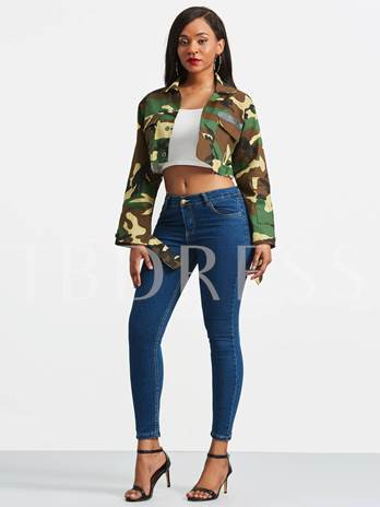 Camouflage Chic Crop Top Women's Casual Jacket