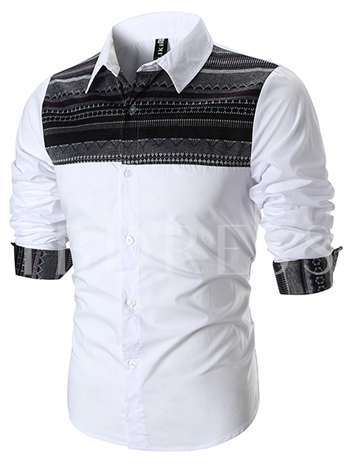Lapel Ethnic Patchwork Slim Men's Shirt