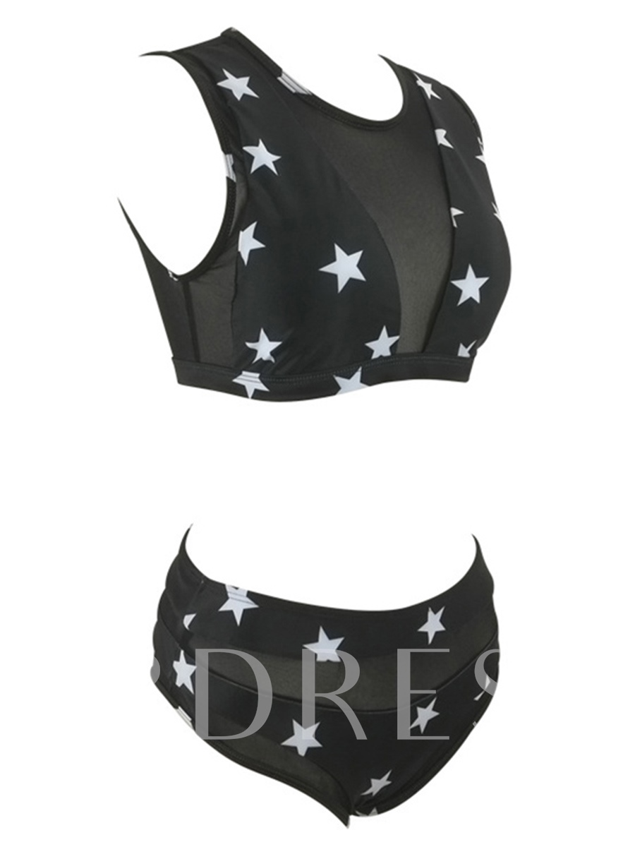 Black Stars Mesh Sexy Bikini Bathing Suits