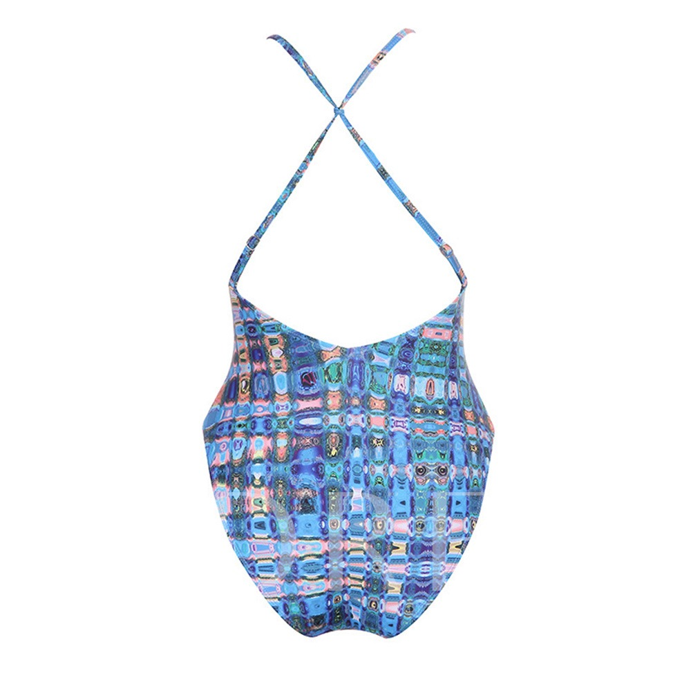 Geometric Print Hollow Backless One Piece Bathing Suits