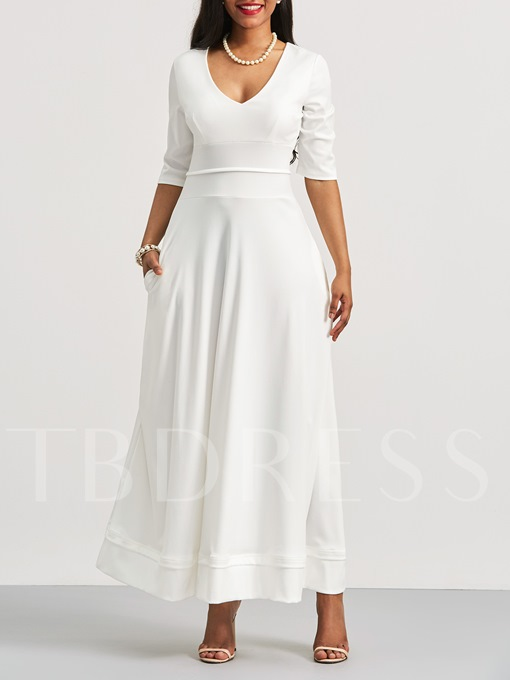 Half Sleeve V-Neck Pocket Maxi Dress