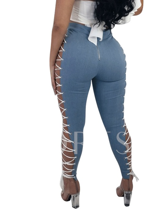 Sexy Hollow Denim Lace-Up Women's Jeans